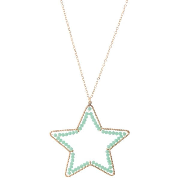 "Long Necklace in Gold Featuring Inner Beaded Star Pendant.  - Pendant (approx) 2"" - Approximately 34"" L - 3"" Adjustable Extender"