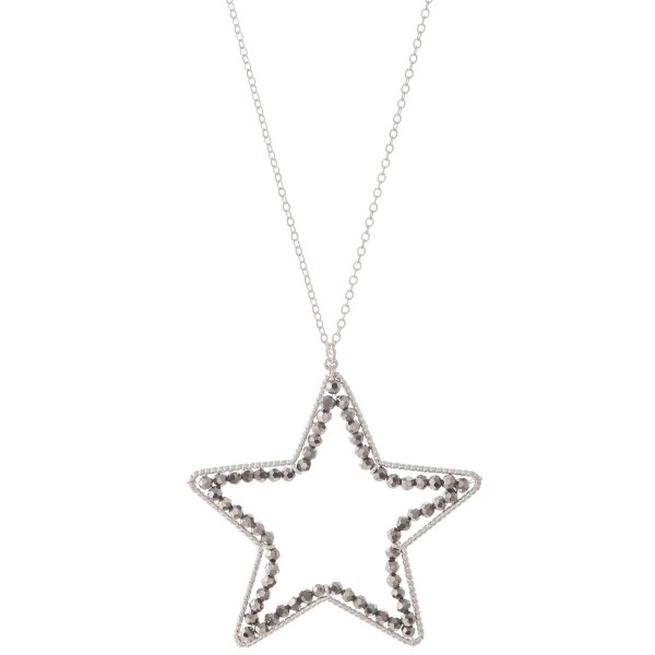 "Long Necklace in Silver Featuring Inner Beaded Star Pendant.  - Pendant (approx) 2"" - Approximately 34"" L - 3"" Adjustable Extender"