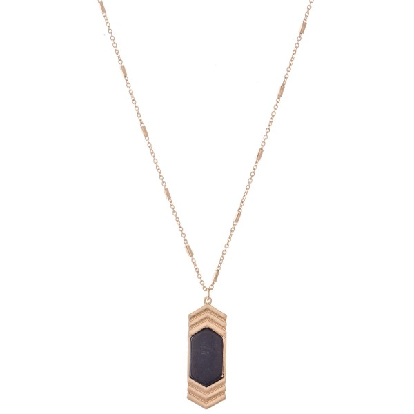 "Semi Precious Chevron Arrow Pendant Necklace in Gold.  - Pendant 1.5""  - Approximately 20"" L  - 3"" Adjustable Extender"