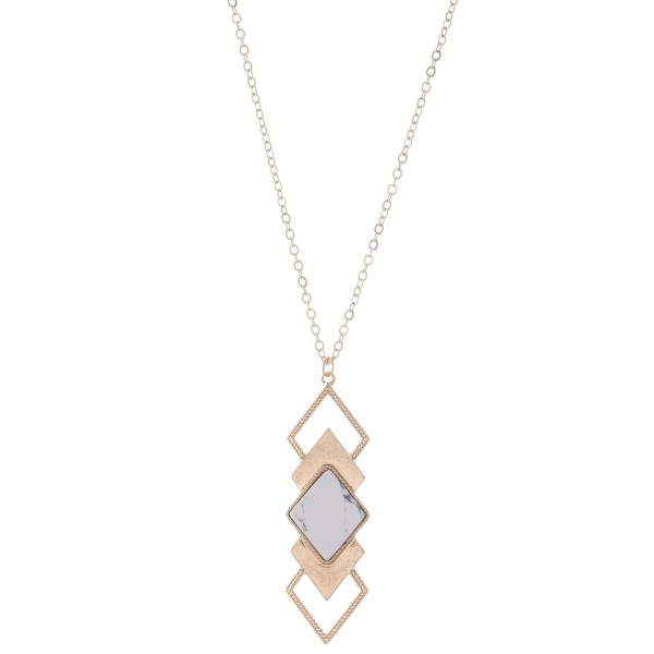 "Long Necklace Featuring a Natural Stone Diamond Tiered Pendant.  - Pendant 3""  - Approximately 34"" L  - 3"" Adjustable Extender"