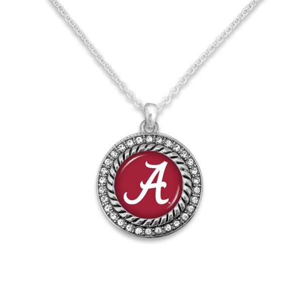 "Alabama Game Day Pendant Necklace Featuring Rhinestone Accents.  - Pendant 1'  - Approximately 20"" L - 3"" Adjustable Extender"