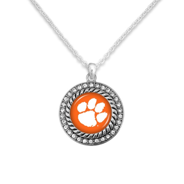 "Clemson Game Day Pendant Necklace Featuring Rhinestone Accents.  - Pendant 1'  - Approximately 20"" L - 3"" Adjustable Extender"