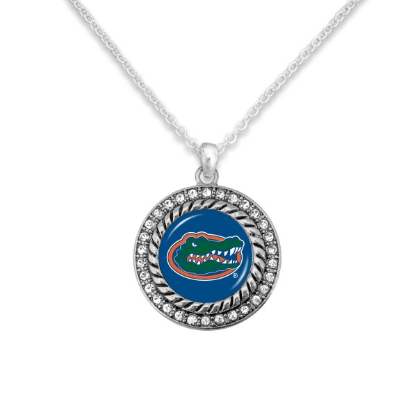 "Florida Gator Game Day Pendant Necklace Featuring Rhinestone Accents.  - Pendant 1'  - Approximately 20"" L - 3"" Adjustable Extender"