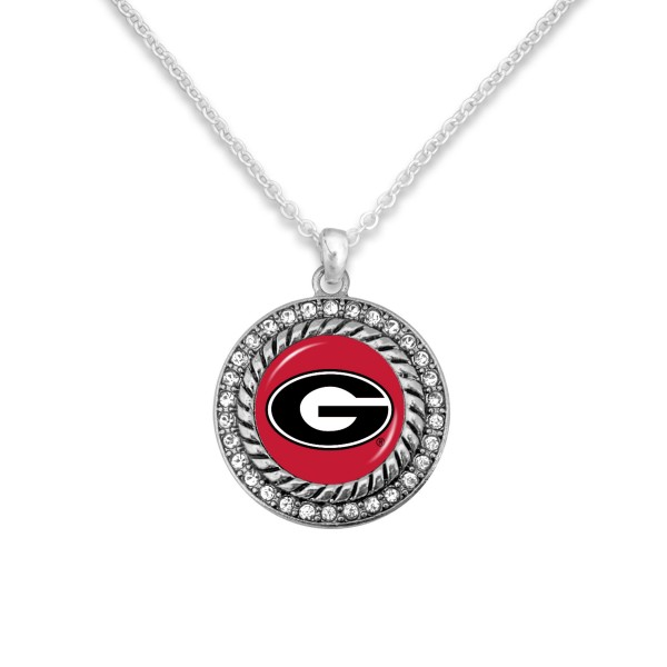 "Georgia Game Day Pendant Necklace Featuring Rhinestone Accents.  - Pendant 1'  - Approximately 20"" L - 3"" Adjustable Extender"