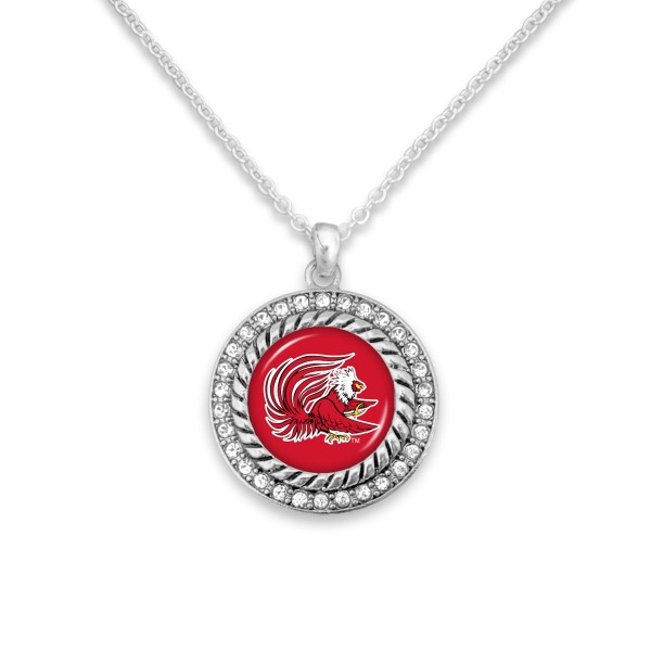 "Jacksonville State University Game Day Pendant Necklace Featuring Rhinestone Accents.  - Pendant 1'  - Approximately 20"" L - 3"" Adjustable Extender"