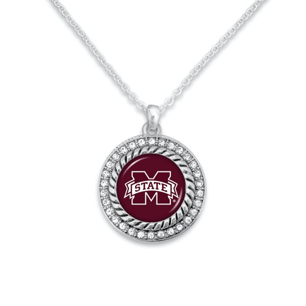 "Mississippi State Game Day Pendant Necklace Featuring Rhinestone Accents.  - Pendant 1'  - Approximately 20"" L - 3"" Adjustable Extender"