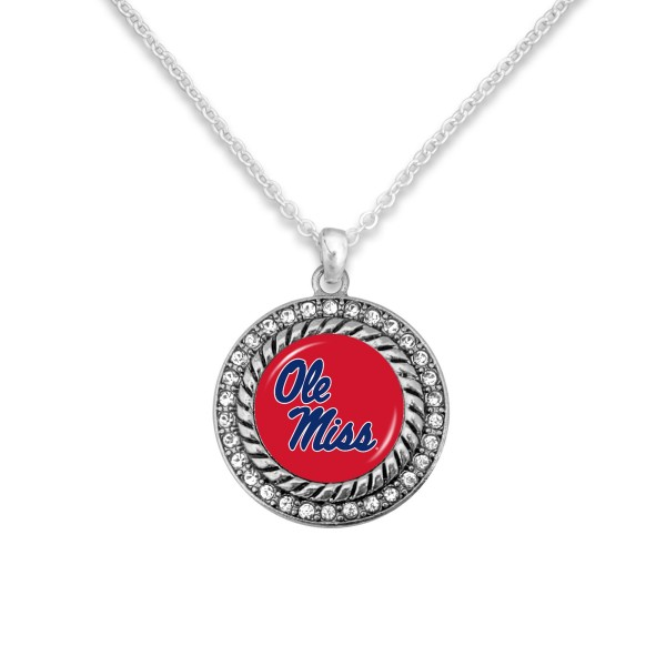 "Ole Miss Game Day Pendant Necklace Featuring Rhinestone Accents.  - Pendant 1'  - Approximately 20"" L - 3"" Adjustable Extender"