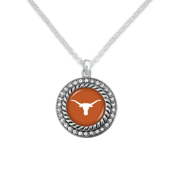 "Texas Longhorn Game Day Pendant Necklace Featuring Rhinestone Accents.  - Pendant 1'  - Approximately 20"" L - 3"" Adjustable Extender"