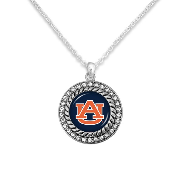 "Auburn Game Day Pendant Necklace Featuring Rhinestone Accents.  - Pendant 1'  - Approximately 20"" L - 3"" Adjustable Extender"