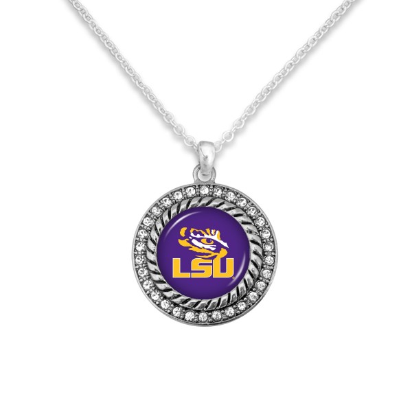 "LSU Game Day Pendant Necklace Featuring Rhinestone Accents.  - Pendant 1'  - Approximately 20"" L - 3"" Adjustable Extender"