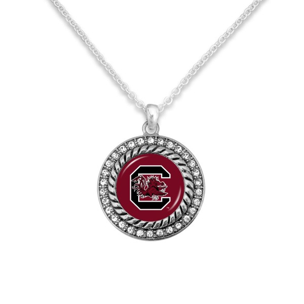 "University of South Carolina Game Day Pendant Necklace Featuring Rhinestone Accents.  - Pendant 1'  - Approximately 20"" L - 3"" Adjustable Extender"
