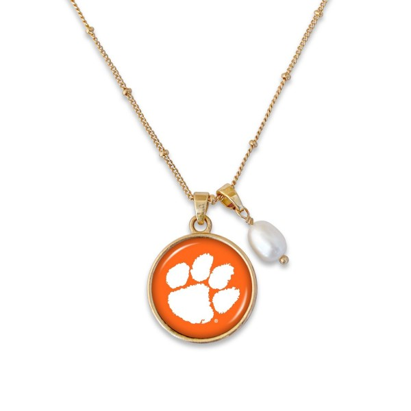"Clemson Pendant Game Day Necklace Featuring Pearl Accent.  - Pendant 1""  - Approximately 18"" L - 2"" Adjustable Extender"