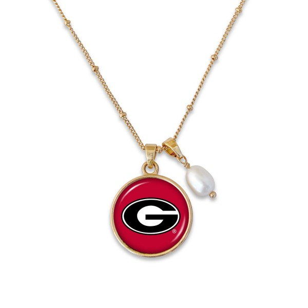 "Georgia Pendant Game Day Necklace Featuring Pearl Accent.  - Pendant 1""  - Approximately 18"" L - 2"" Adjustable Extender"
