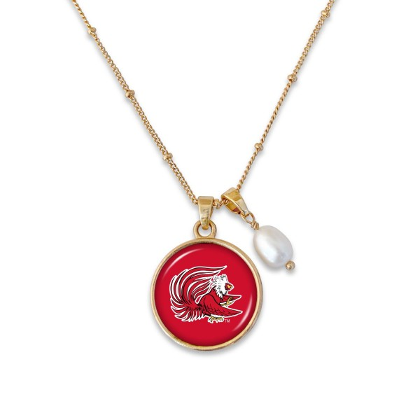 "Jacksonville State University Pendant Game Day Necklace Featuring Pearl Accent.  - Pendant 1""  - Approximately 18"" L - 2"" Adjustable Extender"