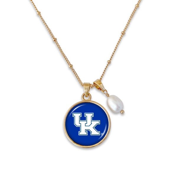 "Kentucky Pendant Game Day Necklace Featuring Pearl Accent.  - Pendant 1""  - Approximately 18"" L - 2"" Adjustable Extender"