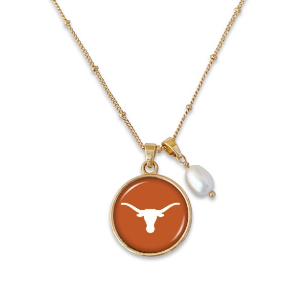 "Texas Longhorn Pendant Game Day Necklace Featuring Pearl Accent.  - Pendant 1""  - Approximately 18"" L - 2"" Adjustable Extender"