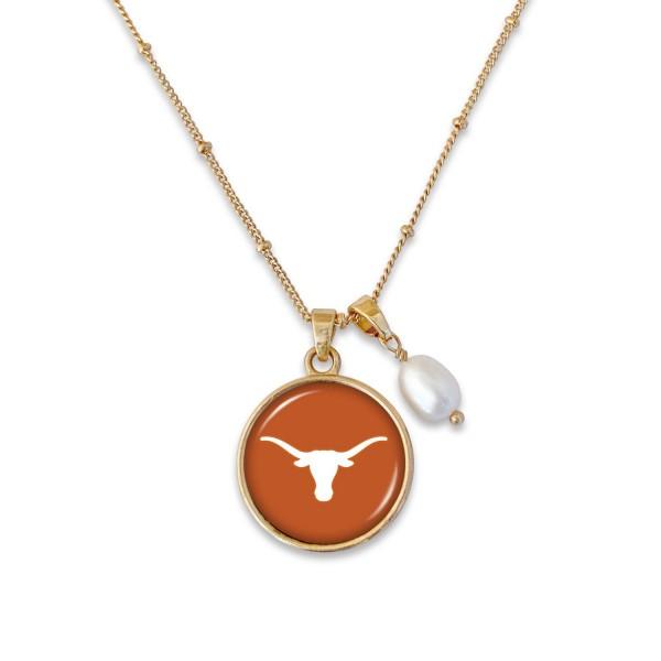 Wholesale texas Longhorn Pendant Game Day Necklace Pearl Accent Pendant L Adjust