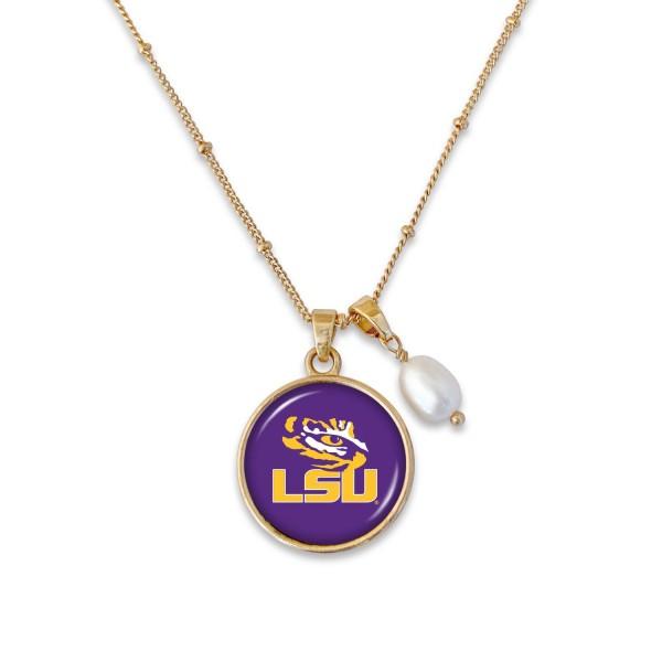 Wholesale lSU Pendant Game Day Necklace Pearl Accent Pendant L Adjustable Extend