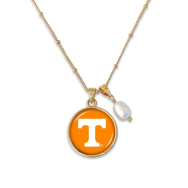 "Tennessee Pendant Game Day Necklace Featuring Pearl Accent.  - Pendant 1""  - Approximately 18"" L - 2"" Adjustable Extender"