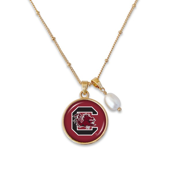 "University of South Carolina Pendant Game Day Necklace Featuring Pearl Accent.  - Pendant 1""  - Approximately 18"" L - 2"" Adjustable Extender"