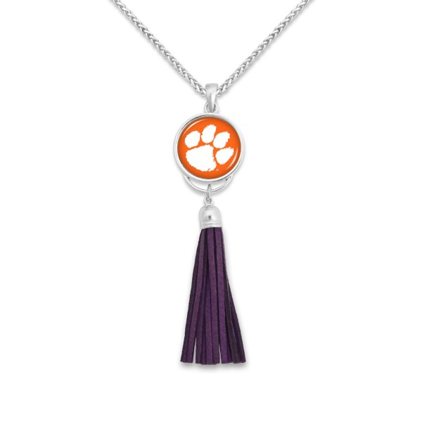 "Clemson Tassel Pendant Game Day Necklace.  - Pendant 4""  - Approximately 38"" L"