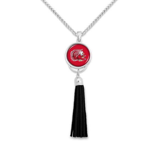 "Jacksonville State University Tassel Pendant Game Day Necklace.  - Pendant 4""  - Approximately 38"" L"