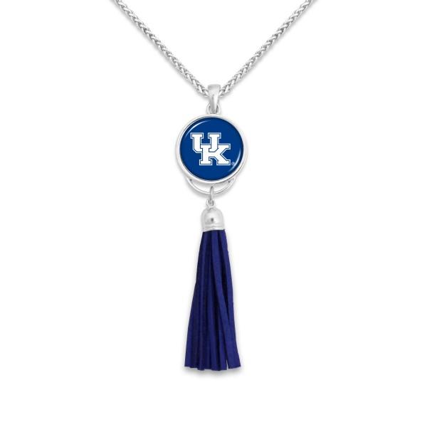 "Kentucky Tassel Pendant Game Day Necklace.  - Pendant 4""  - Approximately 38"" L"