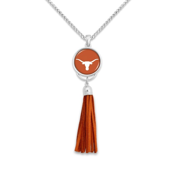 "Texas Longhorn Tassel Pendant Game Day Necklace.  - Pendant 4""  - Approximately 38"" L"