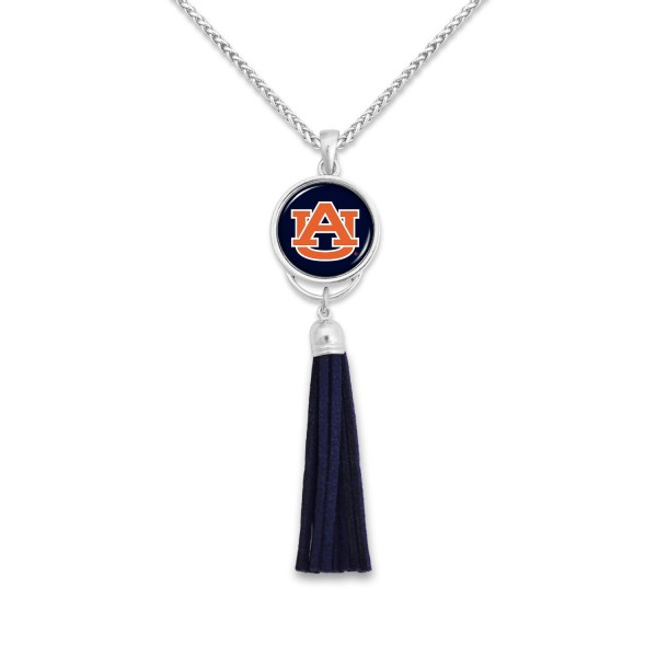 "Auburn Tassel Pendant Game Day Necklace.  - Pendant 4""  - Approximately 38"" L"