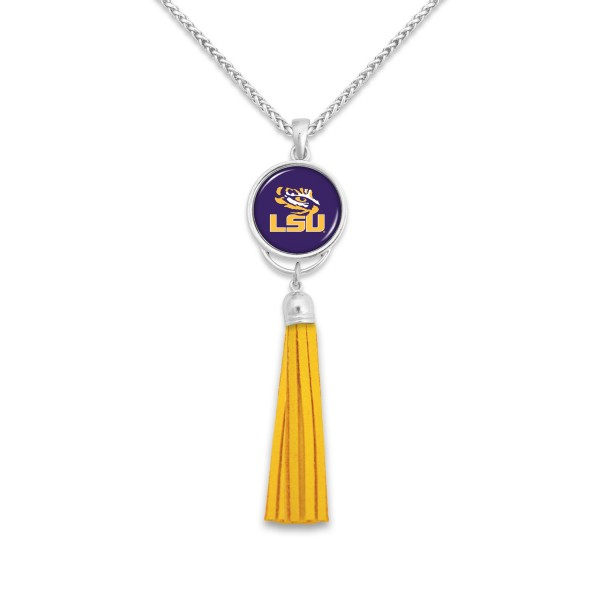 "LSU Tassel Pendant Game Day Necklace.  - Pendant 4""  - Approximately 38"" L"