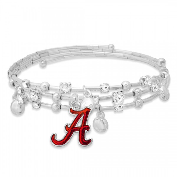 "Alabama Game Day Beaded Wrap Cuff Bracelet Featuring Rhinestone Accents.  - Charm .75"" - Approximately 3"" in Diameter - Fits up to a 7"" Wrist"