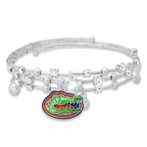 "Florida Game Day Beaded Wrap Cuff Bracelet Featuring Rhinestone Accents.  - Charm .75"" - Approximately 3"" in Diameter - Fits up to a 7"" Wrist"