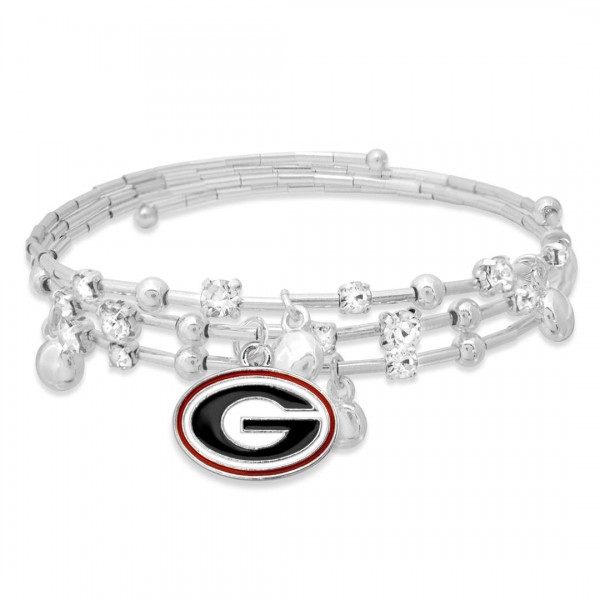 "Georgia Game Day Beaded Wrap Cuff Bracelet Featuring Rhinestone Accents.  - Charm .75"" - Approximately 3"" in Diameter - Fits up to a 7"" Wrist"