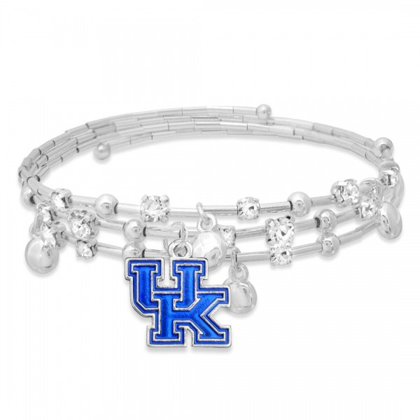 "Kentucky Game Day Beaded Wrap Cuff Bracelet Featuring Rhinestone Accents.  - Charm .75"" - Approximately 3"" in Diameter - Fits up to a 7"" Wrist"
