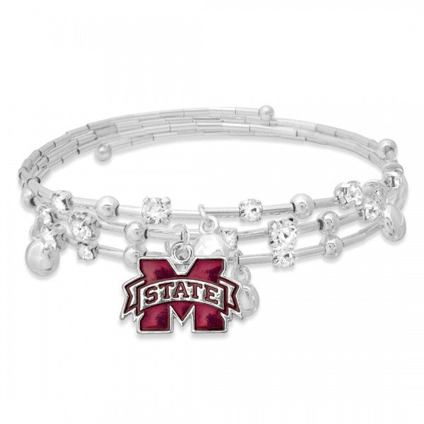 "Mississippi State Game Day Beaded Wrap Cuff Bracelet Featuring Rhinestone Accents.  - Charm .75"" - Approximately 3"" in Diameter - Fits up to a 7"" Wrist"