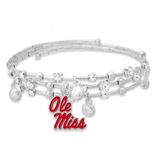 """Ole Miss Game Day Beaded Wrap Cuff Bracelet Featuring Rhinestone Accents.  - Charm .75"""" - Approximately 3"""" in Diameter - Fits up to a 7"""" Wrist"""