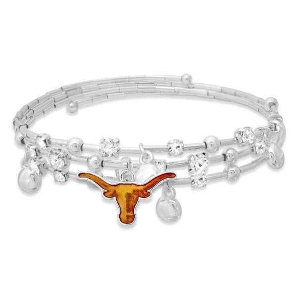 "Texas Longhorn Game Day Beaded Wrap Cuff Bracelet Featuring Rhinestone Accents.  - Charm .75"" - Approximately 3"" in Diameter - Fits up to a 7"" Wrist"