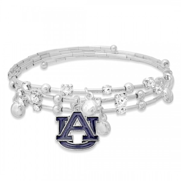 """Auburn Game Day Beaded Wrap Cuff Bracelet Featuring Rhinestone Accents.  - Charm .75"""" - Approximately 3"""" in Diameter - Fits up to a 7"""" Wrist"""