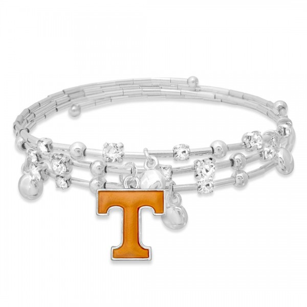 "Tennessee Game Day Beaded Wrap Cuff Bracelet Featuring Rhinestone Accents.  - Charm .75"" - Approximately 3"" in Diameter - Fits up to a 7"" Wrist"