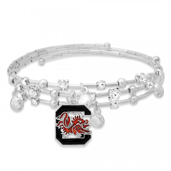 "University of South Carolina Game Day Beaded Wrap Cuff Bracelet Featuring Rhinestone Accents.  - Charm .75"" - Approximately 3"" in Diameter - Fits up to a 7"" Wrist"