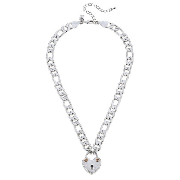 """Chunky Curb Chain Link Heart Lock Pedant Necklace.  - Pendant 1"""" - Approximately 16"""" L - 3"""" Adjustable Extender"""