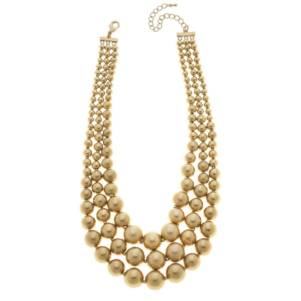 """Beaded Layered Statement Necklace in Gold.  - 4mm - 19mm Bead Sizes - Approximately 18"""" L  - 2.5"""" Adjustable Extender"""