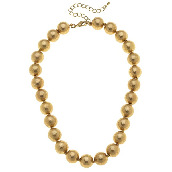 """Beaded Statement Necklace in Worn Gold.  - 14mm Bead Size - Approximately 16"""" L - 3"""" Adjustable Extender"""