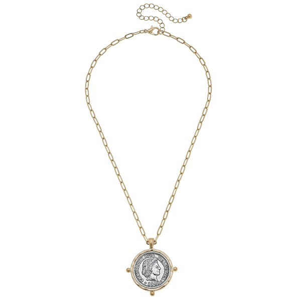 "Chain Link Coin Pendant Necklace in Gold.  - Pendant 1.25"" in Diameter - Approximately 18"" L - 2.5"" Adjustable Extender"