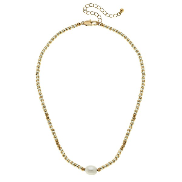 "Short Two Tone Beaded Pearl Necklace.  - Approximately 16"" L - 2.5"" Adjustable Extender"