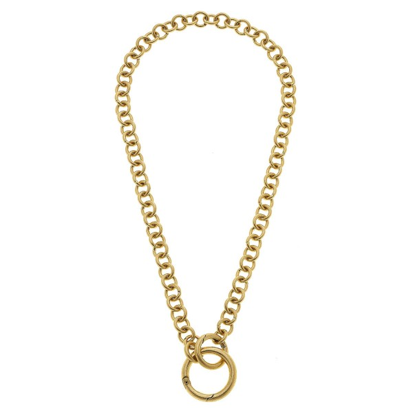 "Chain Link Ring Necklace in Worn Gold.  - Ring 1.25"" - Front O-Ring Clasp Closure - Approximately 20"" L"