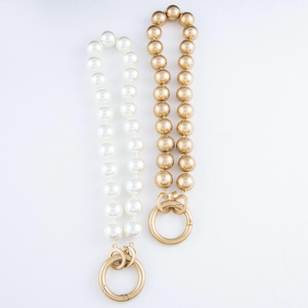 "Ivory Pearl Beaded O-Ring Statement Necklace in Worn Gold.  - 19mm Bead Size - O-Ring Hinge Clasp Closure - Approximately 16"" L"