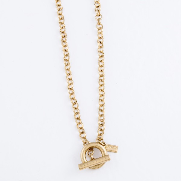 """Rolo Chain Toggle Bar Necklace in Worn Gold.  - Front Toggle Bar Clasp Closure - Approximately 15"""" L"""
