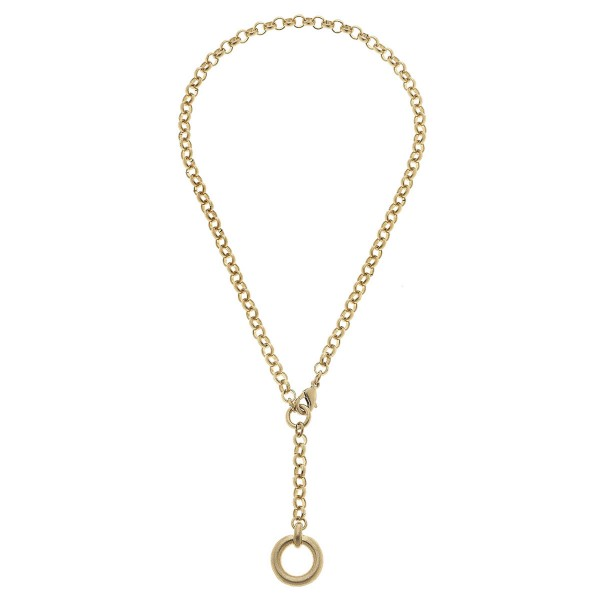 "Rolo Chain O-Ring Y Necklace in Worn Gold.  - Pendant .5"" - Approximately 14"" L - Approximately 20"" L Overall"