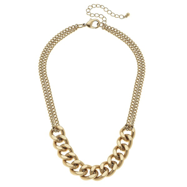 """Doubled Curb Chain Link Necklace in Worn Gold.  - Approximately 14"""" L - 3"""" Adjustable Extender"""